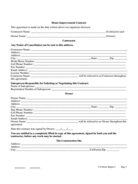 home improvement contract template 3 free templates in