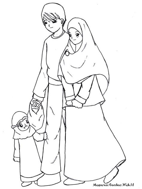 free printable anak keluarga muslim coloring pages