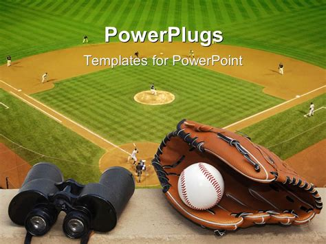 Powerpoint Template Binoculars Baseball And Glove On Ledge Overlooking Baseball Field With Free Baseball Powerpoint Template