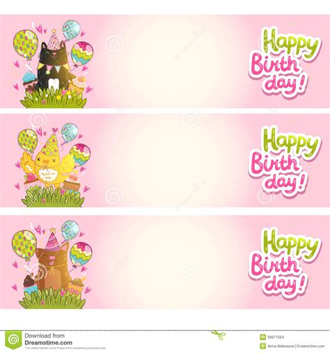 birthday card template for dogs happy birthday cards with cat bird stock vector