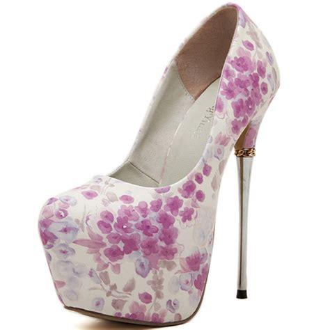 High Heel Fashion Flower Printed cheap fashion closed toe floral print stiletto high heel pu basic pumps pumps shoes