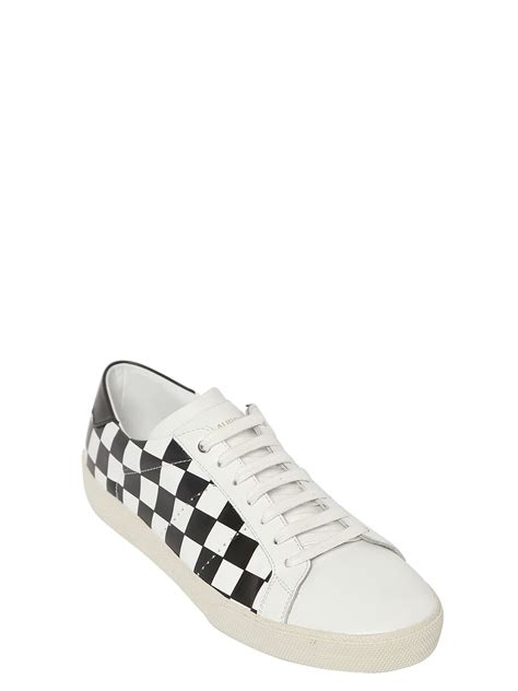 checkered sneakers laurent court classic checkered leather sneakers in
