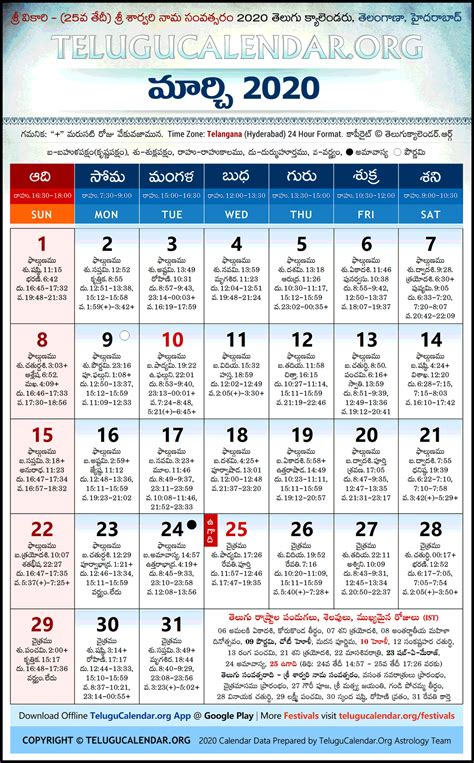 telangana  march telugu calendar high resolution