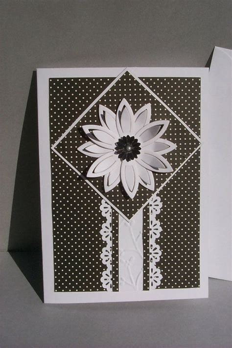Black And White Handmade Cards - handmade card in black and white dimensional large white