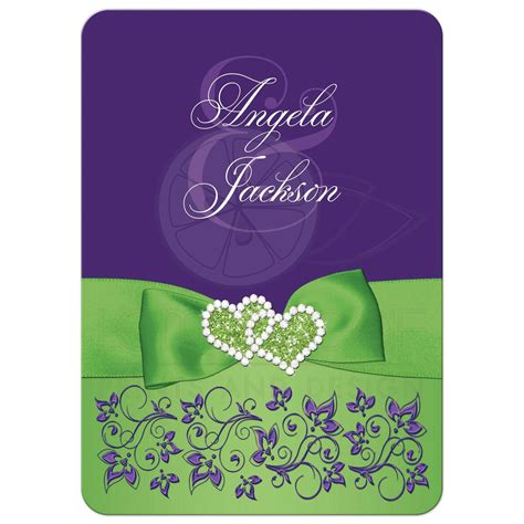 purple and green wedding invitations lime green white purple floral wedding invitation printed ribbon jewels glitter hearts