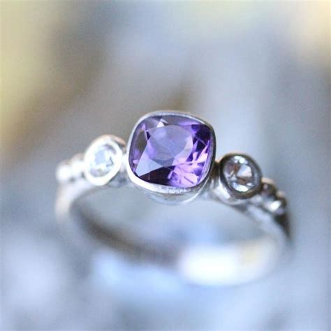purple amethyst and white sapphire sterling silver