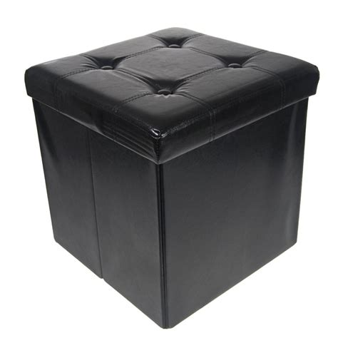 Storage Ottoman Seat Storage Ottoman Faux Leather Collapsible Foldable Seat Foot Rest Coffee Table Ebay