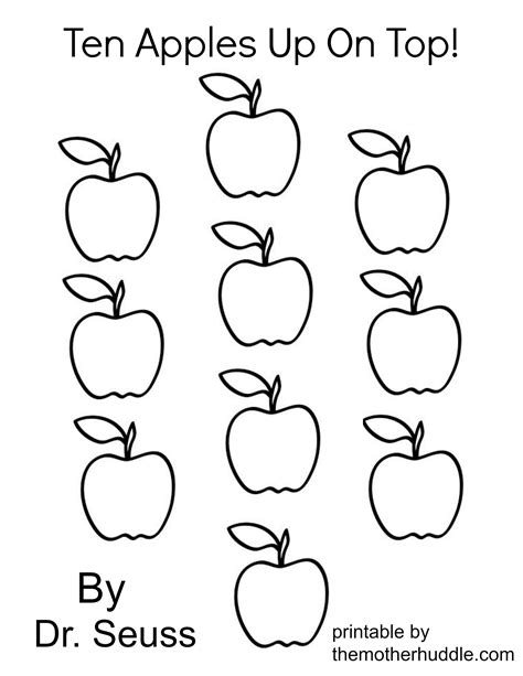 ten apples up on top coloring pages az coloring pages
