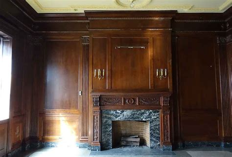 paneled rooms neoclassical walnut panel room with grand carved mantel