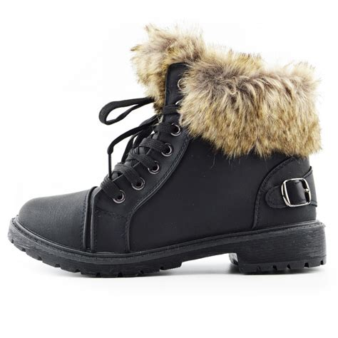 Faux Fur Boots womens lace up hiker ankle boots faux fur lined midi boots