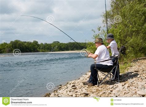 Armchairs For The Elderly Grandfather And Grandson Go Fishing Royalty Free Stock
