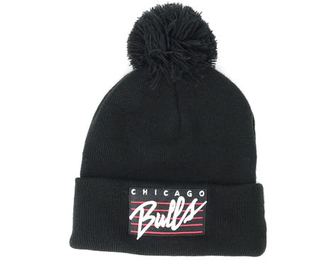 knit 1 chicago chicago bulls cursive script knit black pom mitchell