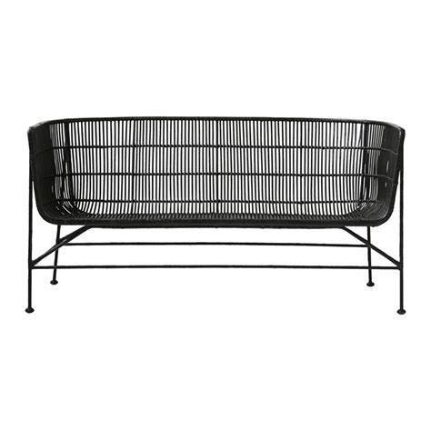 black rattan bench house doctor coon rattan bench black living and co