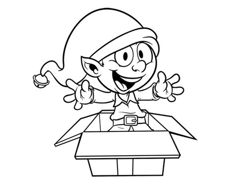 coloring page elf with present elf going out a present coloring page coloringcrew com