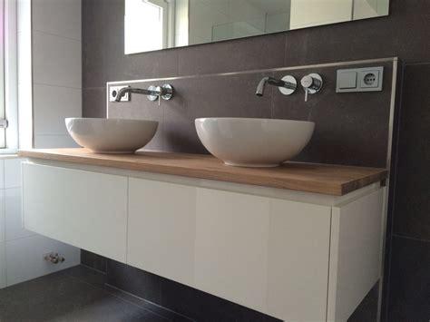 houten badmeubel met waskom badkamermeubel met eiken blad p j van der vegt