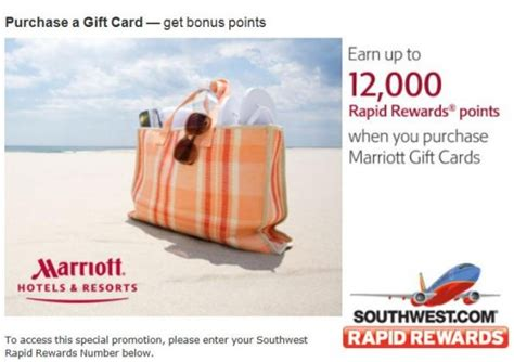 Marriot Gift Cards - up to 12 000 southwest points buying marriott gift cards loyalty traveler