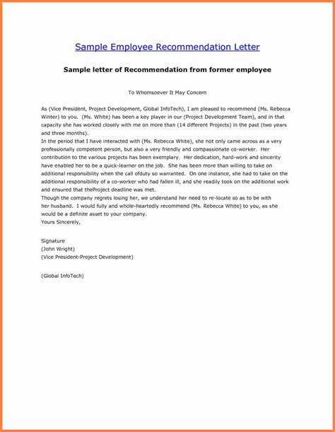 Reference Letter Exles For Employee 9 Exles Of Recommendation Letters For Employment Insurance Letter