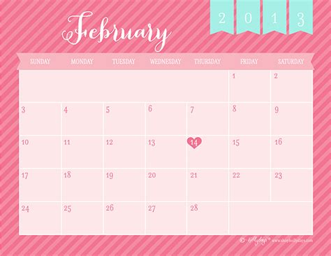 Feb 2013 Calendar Free Printable February 2013 Calendar Hollydays