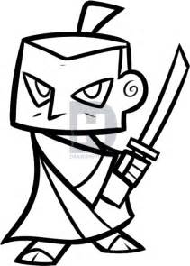 how to draw a samurai for kids step by step people for