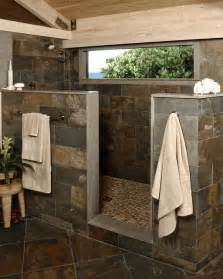 Log Cabin Master Bathrooms Rustic Stone Shower Modern Bathroom Other Metro By