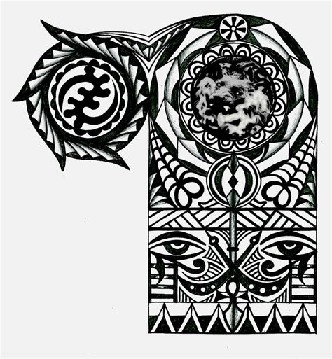 adinkra warrior tribal half sleeve maori and tatting