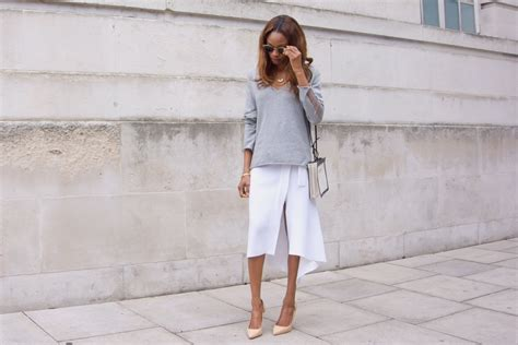 minimal look in grey knit symphony of silk cashmere and white midi wrap skirt symphony of silk