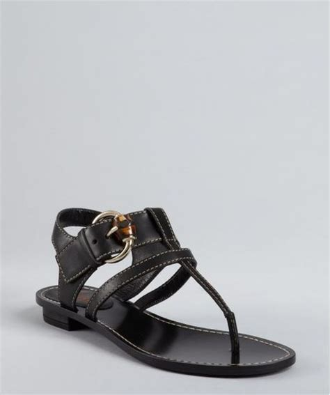 Gucci Buckle Sandals by Gucci Black Leather Bamboo Buckle Gwen Sandals In
