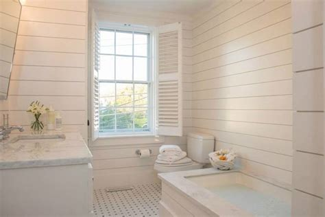 bathroom with paneling shiplap paneling design ideas
