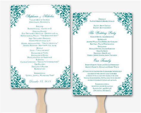 free wedding program templates microsoft word items similar to teal microsoft word floral corner wedding