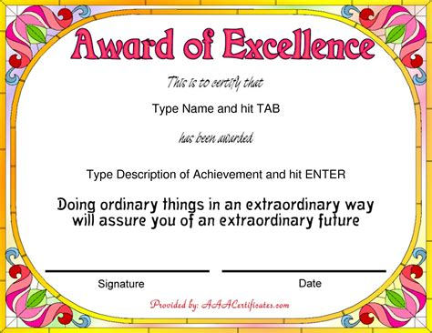 award certificates templates free exles of award certificates letter transmittal exle