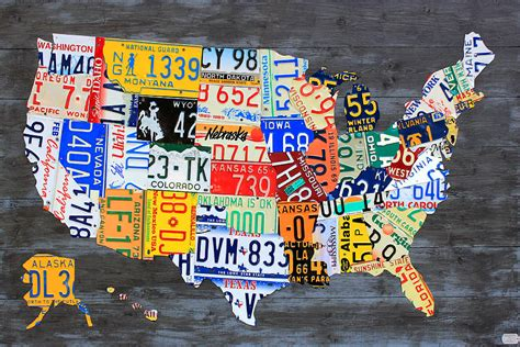 license plate map license plate map of the usa on gray reclaimed wood