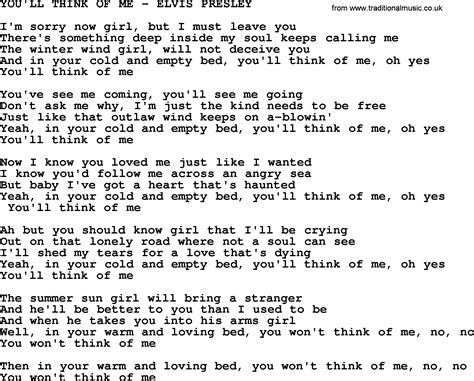 you ll think of me elvis txt by elvis