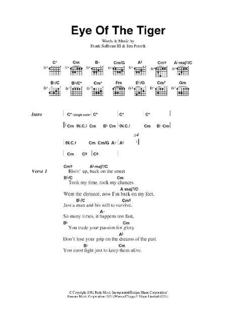 printable lyrics to his eye is on the sparrow eye of the tiger sheet music direct