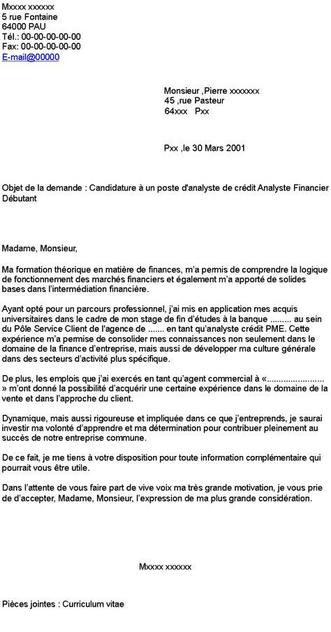 Lettre De Motivation Banque Analyste Financier candidature 224 un poste d analyste de cr 233 dit analyste