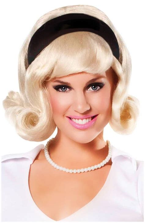 50s hair wigs for men blonde 60 s flip wig poodle skirts