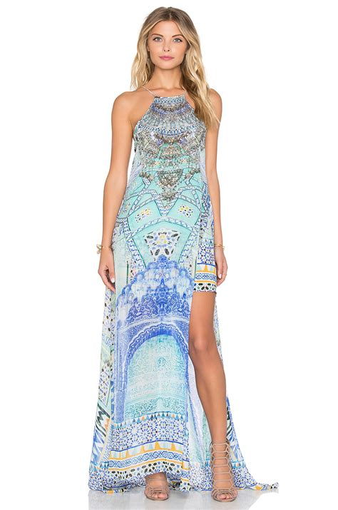 Kamilla Dress Maxy by Lyst Camilla Sheer Overlay Maxi Dress In Blue