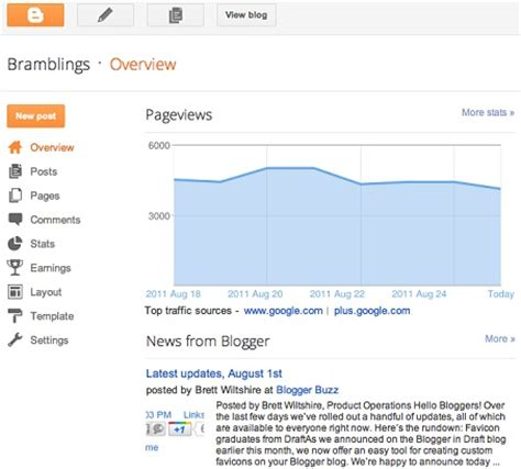 blogger dashboard blogger presents new improved dashboard interface