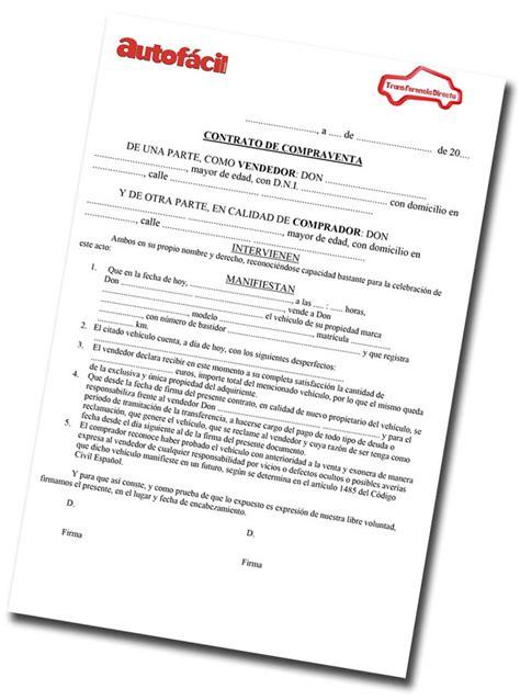 ejemplo contrato compra venta coche segunda mano instrucciones para compra venta de vehiculos de segunda