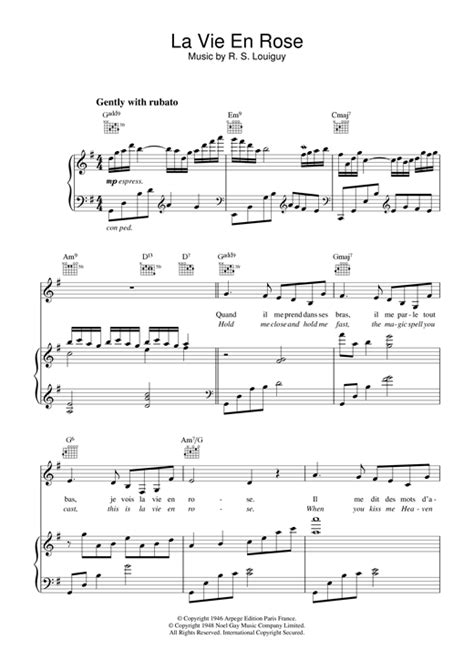 milord testo la vie en piano sheet by edith piaf piano