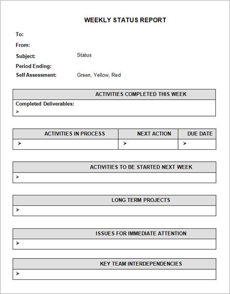 status report template sle status report template 7 free documents