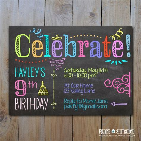 trendy blue neon chalkboard birthday chalkboard invitation tween birthday neon colors celebrate diy printable invitation file