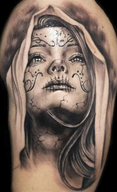 lovely black grey santa muerte tattoo tattoos book
