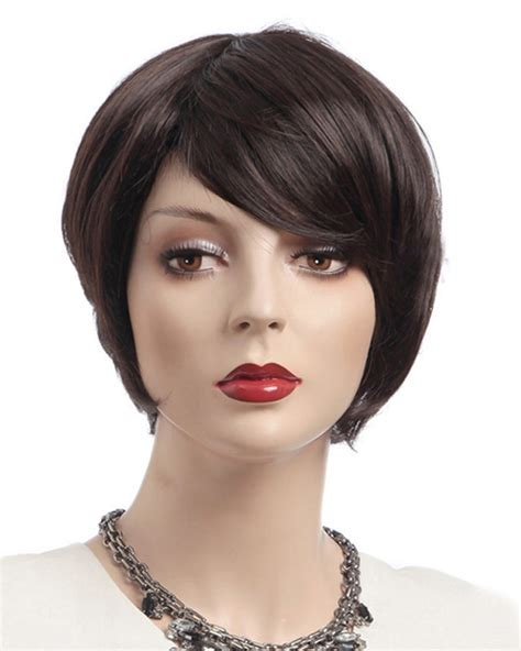 pictures of short wigs dark brown short wigs synthetic hair wig with bangs