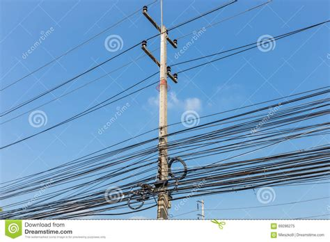 electric pole wires electrical wires on power pole thailand stock image