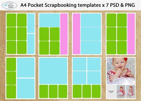 digital project life pocket scrapbooking template set a4 x 7