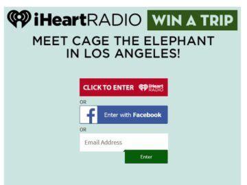 I Heart Radio Sweepstakes - iheartradio cage the elephant flyaway sweepstakes