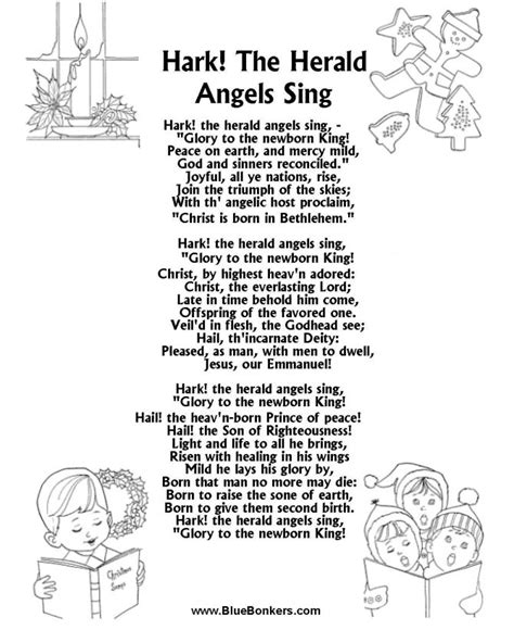 bluebonkers christmas lyrics printable carol lyrics sheet hark the herald angles sing songs words