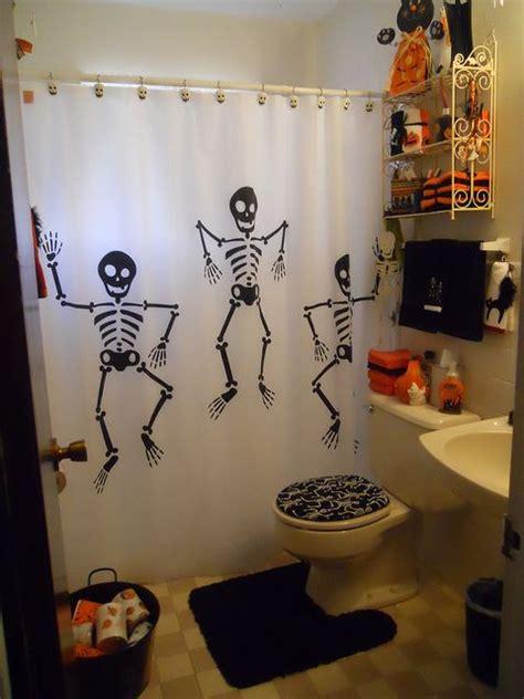 skeleton shower curtain halloween themed bathroom the