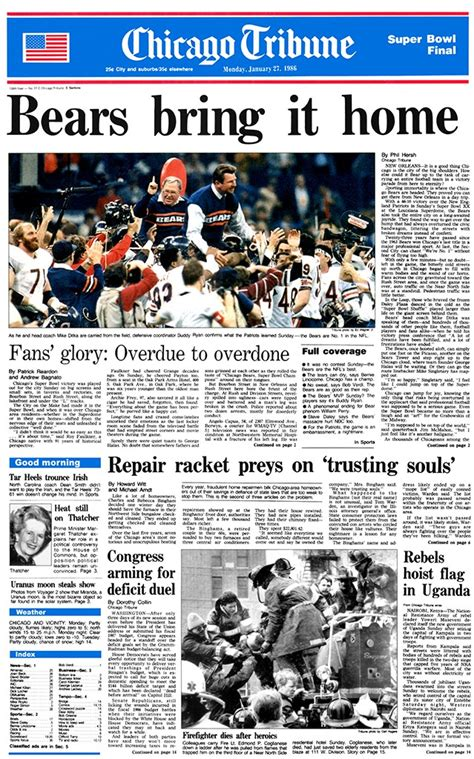 chicago bears bowl xx tribune front page quot bears