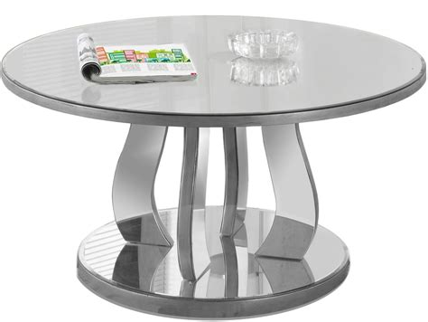 brushed silver table brushed silver mirror 36 quot coffee table from monarch